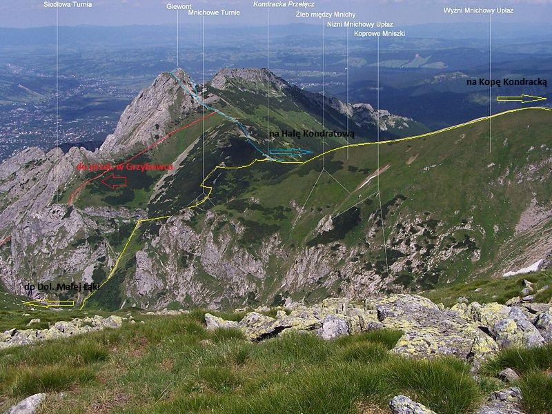 Przebieg szlaków w rejonie Przełęczy Kondrackiej