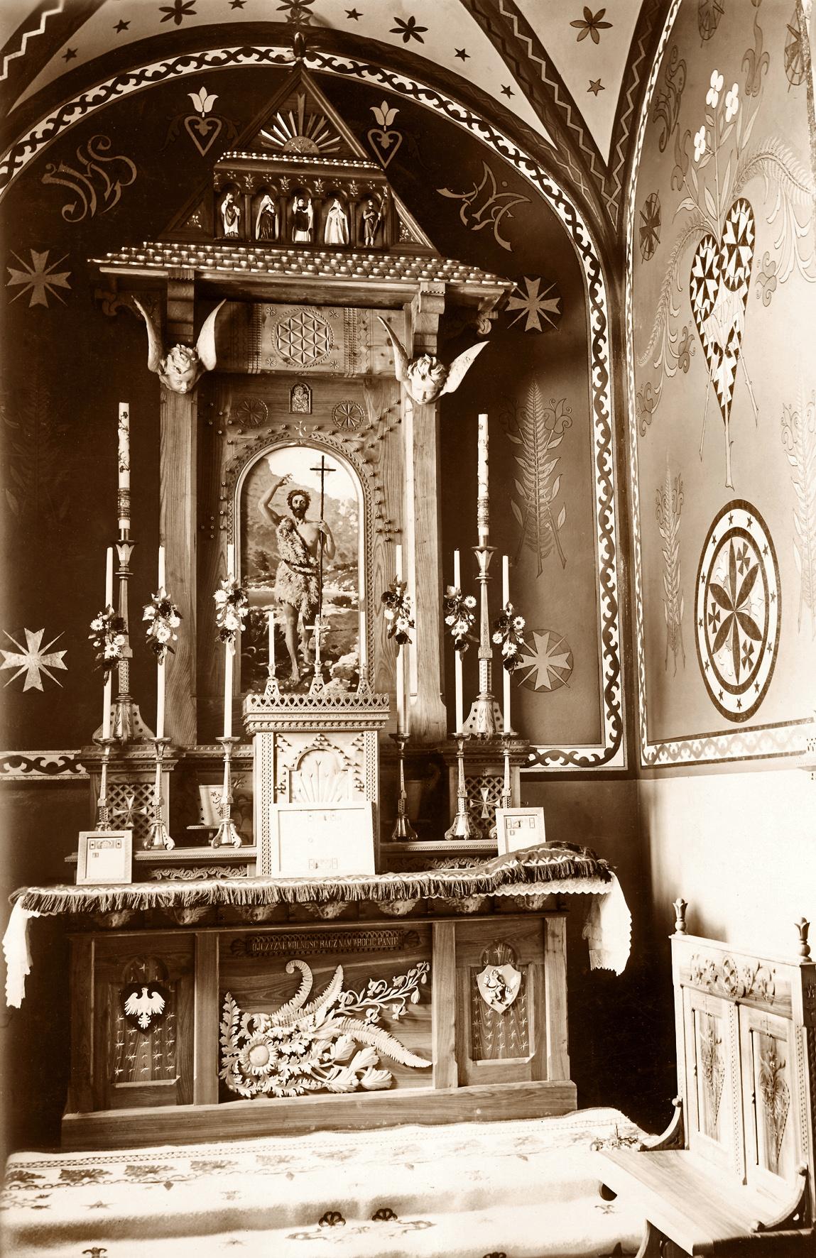 ołtarz w kaplicy Jana Chrzciciela, 1910 r.