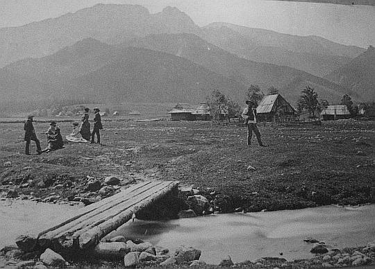 Krupówki 150 lat temu... mostek nad Foluszowym Potokiem, Rówień Krupowa