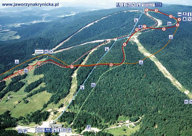 szlak czerwony oznaczono biało-czerwoną linią