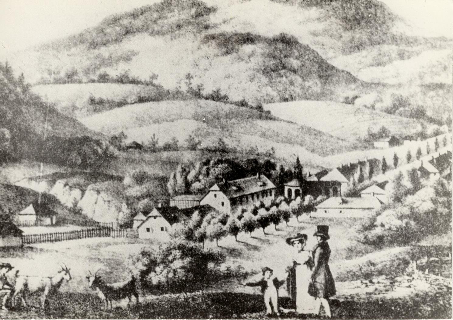 Krynica w 1807 r. - widać pierwsze obiekty uzdrowiskowe: Pijalnię zw. 'Domkiem Chińskim', domy zdrojowe i aleję drzew na Deptaku