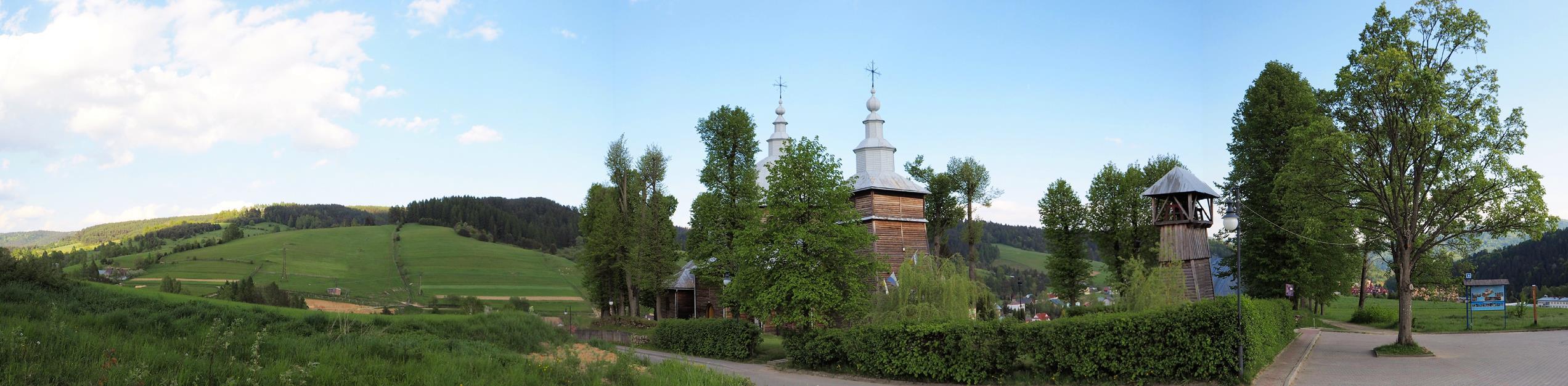 Spod cerkwi rozpościera się ciekawy widok na Muszynę i Złockie.