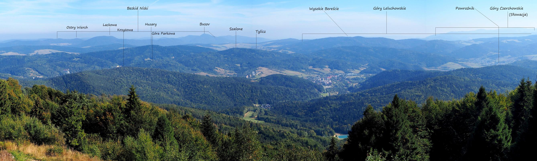 Panorama ze szczytu Jaworzyny Krynickiej w kier. wschodnim.