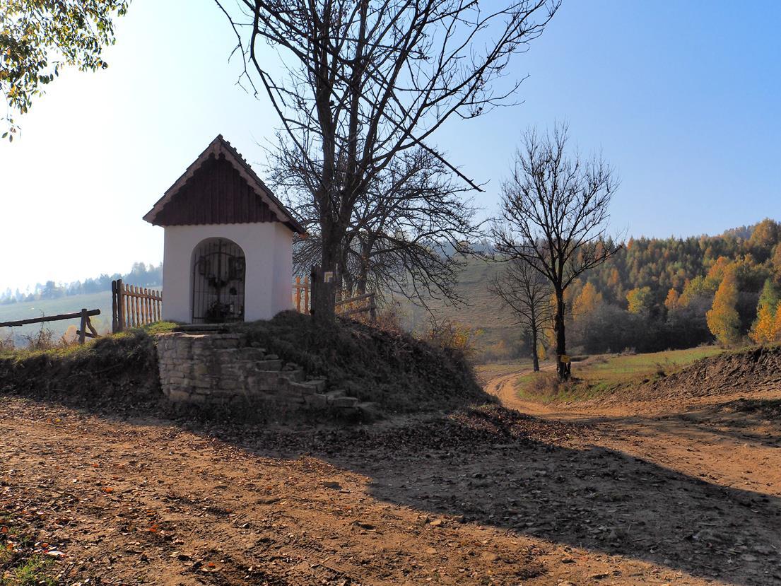 Rozwidlenie przy kapliczce - szlak na Jaworzynkę odchodzi w lewo, szlak powrotny doprowadzi nas drogą na wprost.