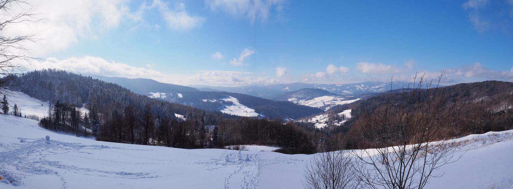 Zimowa panorama spod Bacówki. Niestety chmury przysłoniły Tatry.