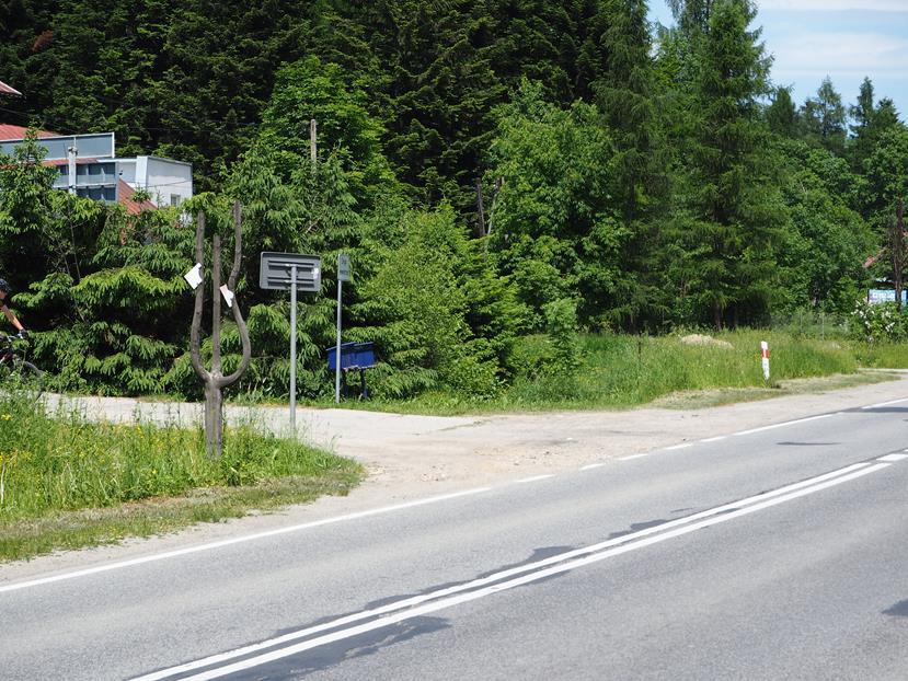 Kopciowa: miejsce odejścia szlaku od drogi głównej - znaki niestety są zniszczone.