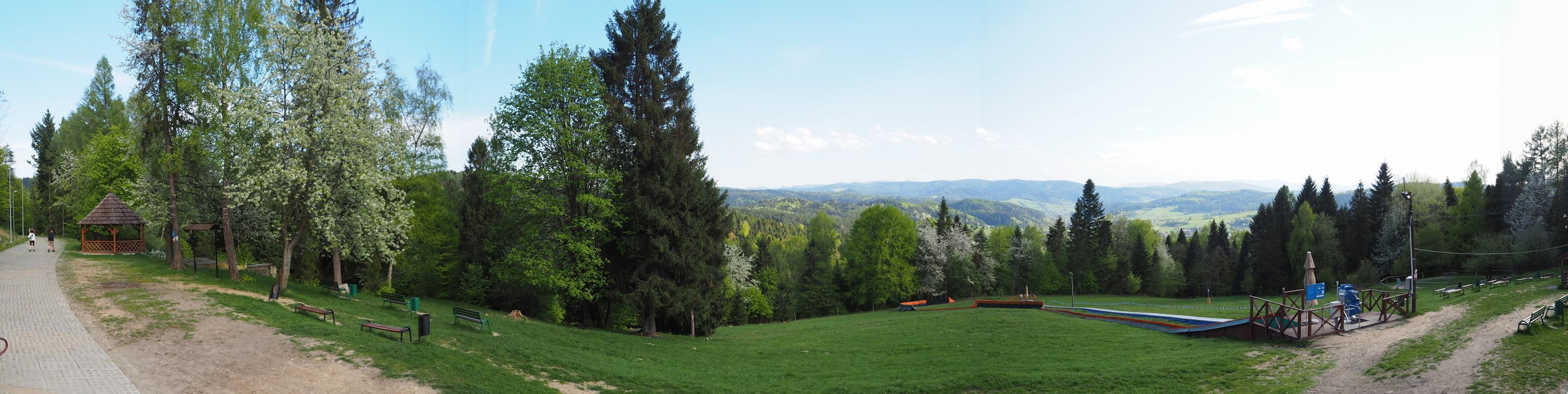 Panorama z polany pod szczytem Góry Parkowej