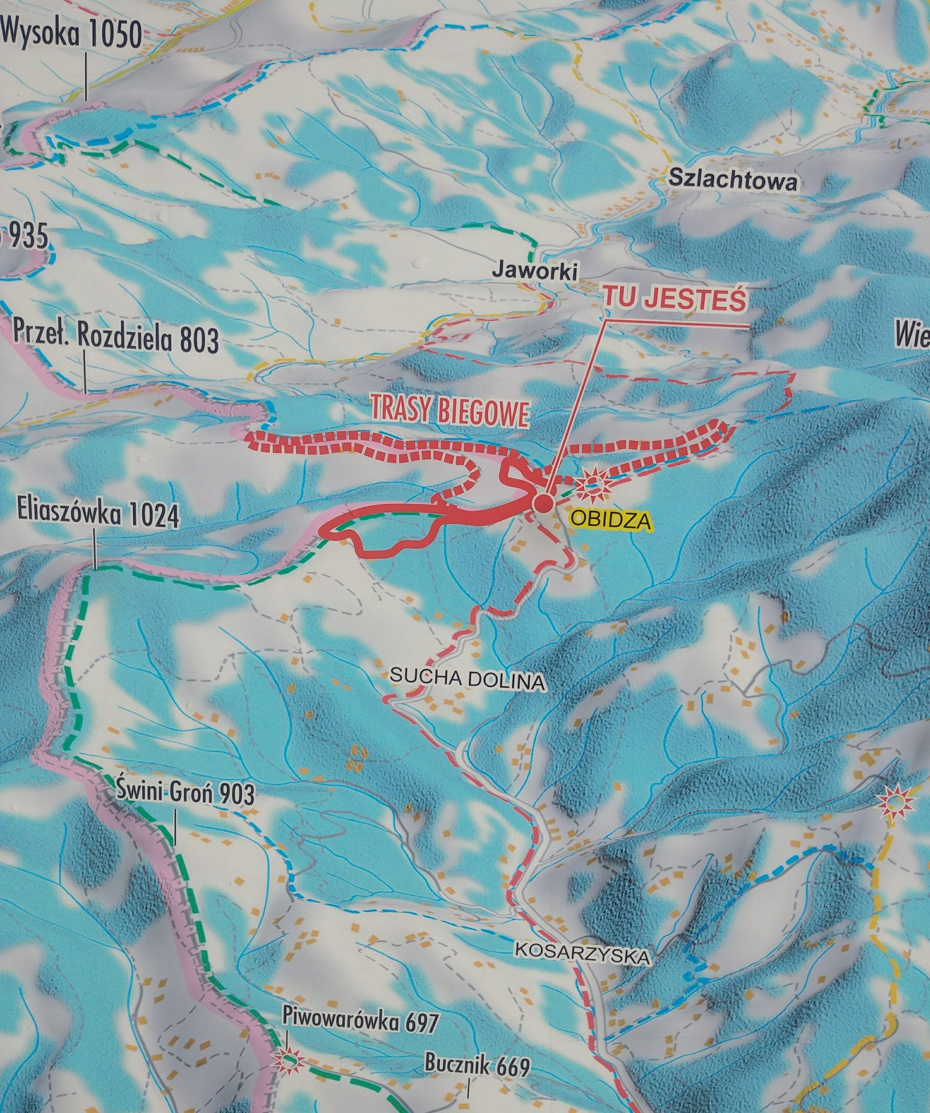 Mapa tras narciarstwa biegowego w Obidzy