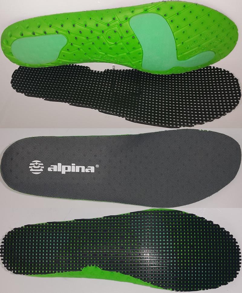 Specyficzna wielowarstwowa wkładka z kanałami zapewniającymi dodatkową wentylację buta.